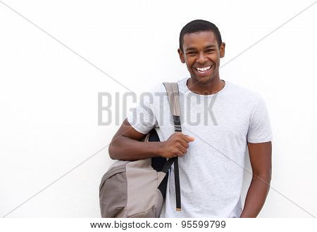 College Student Smiling With Bag