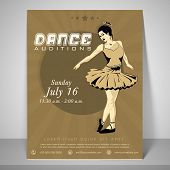 Retro Flyer for dance audition with a dancing girl, place holder, address bar and mailer. poster