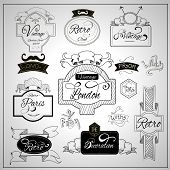 Retro design nostalgic elements with catchwords ribbons and moustaches on whiteboard black felt pen abstract vector illustration poster