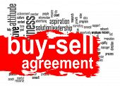 Buy-sell agreement word cloud with red banner image with hi-res rendered artwork that could be used for any graphic design. poster