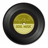 Isolated vinyl record with the text soul music written on the record poster