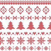 Nordic Pattern With Christmas Elements Stitched In Red poster