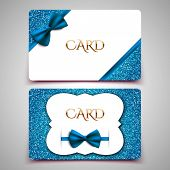 Gift cards vector card template club member card blue bow and glitter poster