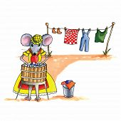 From the series mouse - mouse is washing the laundry poster
