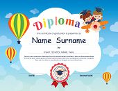 Preschool Elementary school Kids Diploma certificate background design template poster