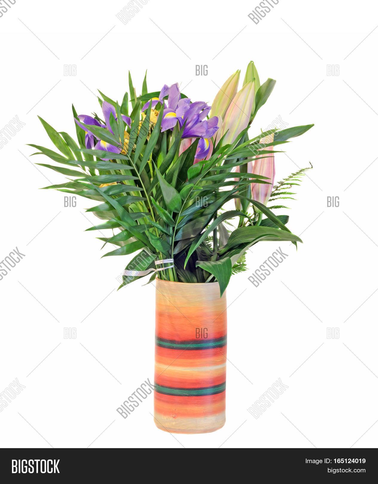 Bouquet mauve iris image photo free trial bigstock bouquet of mauve iris flowers with lilies buds in a vibrant colored vase floral arrangement izmirmasajfo