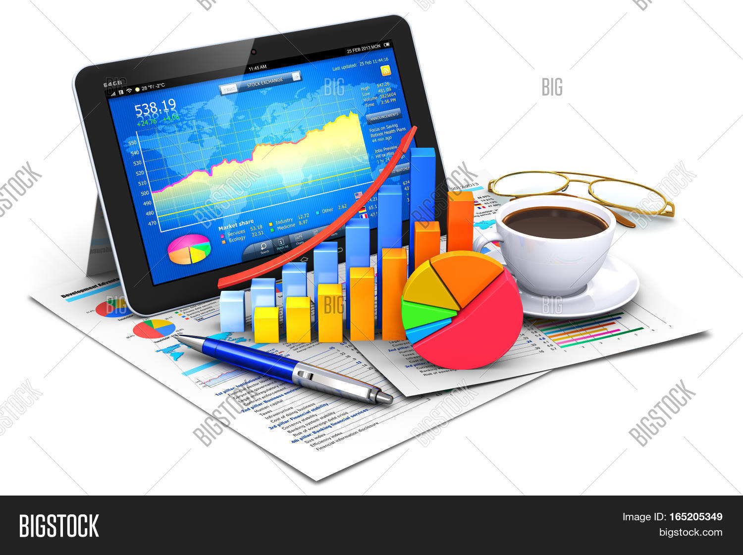 3d render illustration image photo free trial bigstock 3d render illustration of modern tablet computer pc with stock market application software growth bar ccuart Image collections