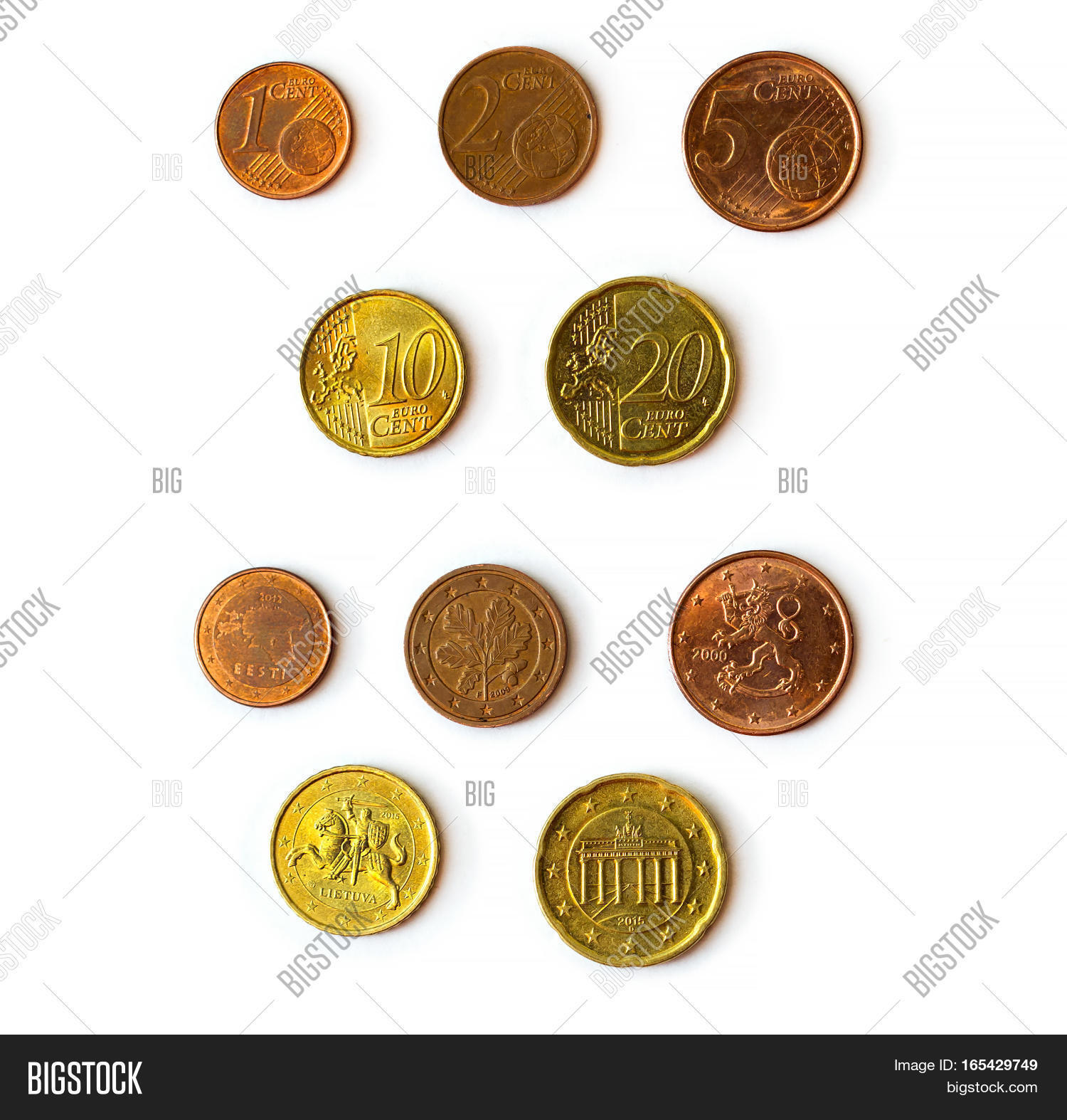 Euro Cent Coins Set Image Photo Free Trial Bigstock