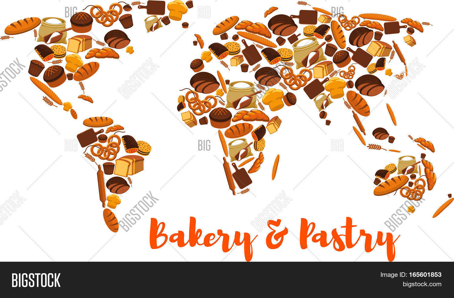 Bread world map bakery pastry vector photo bigstock bread world map bakery and pastry symbol or poster of wheat and rye ears and gumiabroncs Choice Image