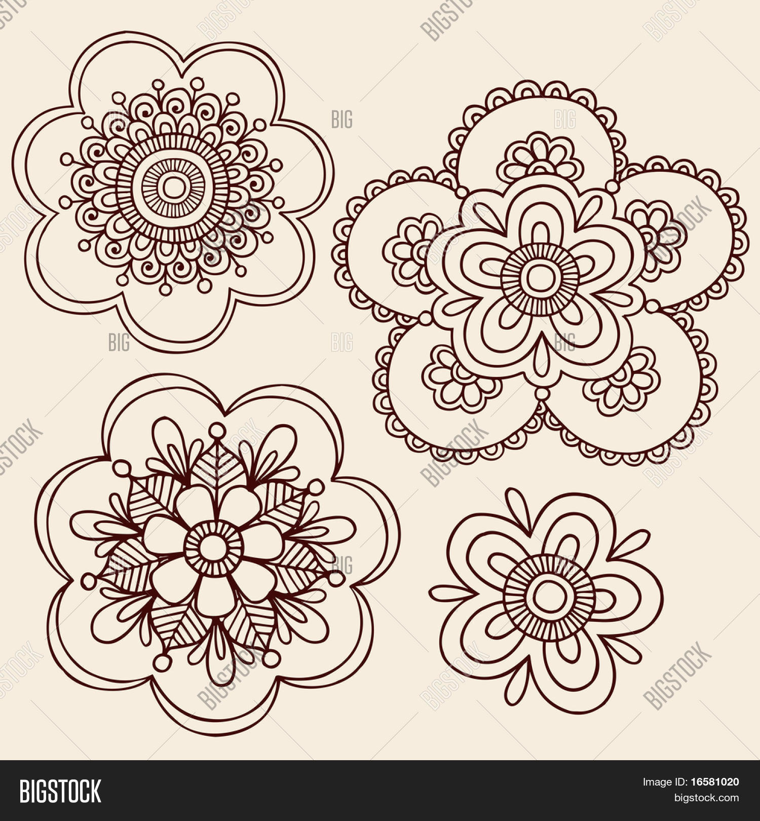Hand Drawn Henna Vector Photo Free Trial Bigstock