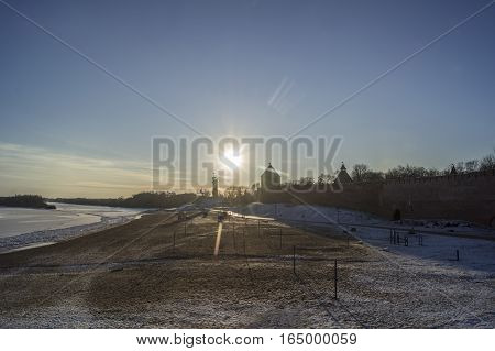Veliky Novgorod Russia. Embankment of the river Volkhov Winter Victory Monument commemorating Soviet victory over fascism and Trinity church. Winter landscape. January 2017