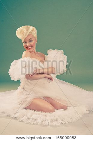 Pin-up bride. Professional make-up, hair and style