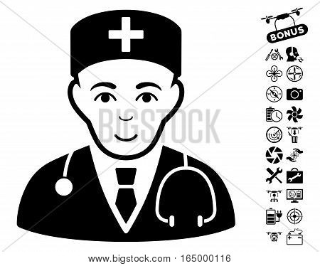 Physician pictograph with bonus flying drone tools pictograph collection. Vector illustration style is flat iconic black symbols on white background.