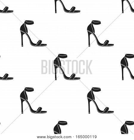 Ankle straps icon in  black style isolated on white background. Shoes pattern vector illustration.