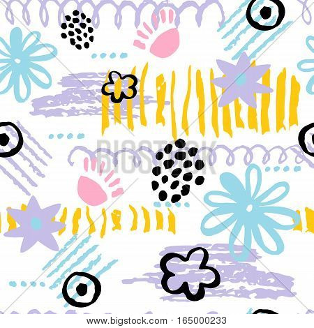 Hand drawn scribbles seamless pattern and geometric elements. Colorful modern vector background for greeting cards fabric paper blog prints cover. Kids drawing.
