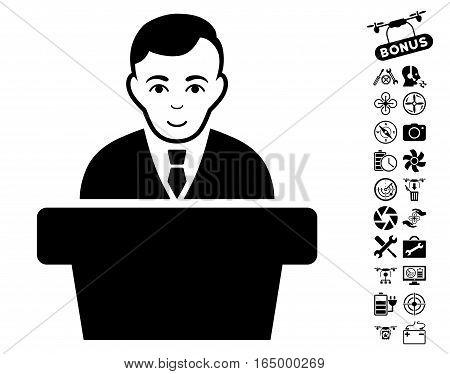 Politician icon with bonus quadrocopter service design elements. Vector illustration style is flat iconic black symbols on white background.