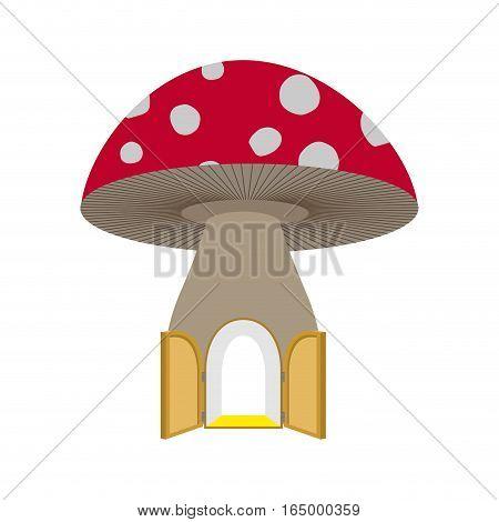 Amanita Home Fabulous. Open Door To Mushroom. Fantastic Forest Structure