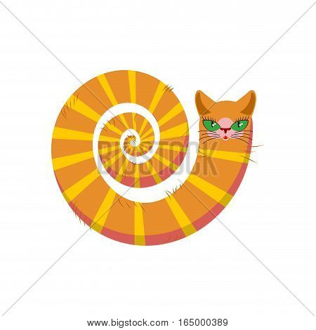 Cat Fabulous Isolated. Long Tail Of Pet On White Background