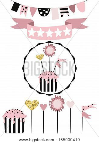 Celebratory cake with set of decoration toppers candles and garlands with flags. Vector hand drawn illustration scandinavian style in pink colors with gold glittering elements.