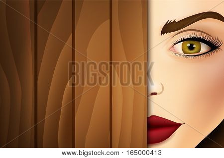 Woman peeking from wooden desk, face close up.