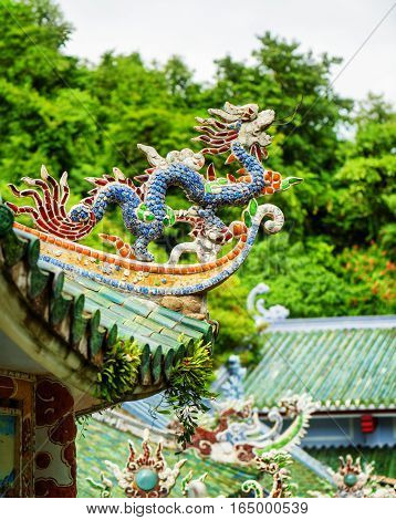 Traditional Mosaic Dragon On Roof Of The Linh Ung Pagoda
