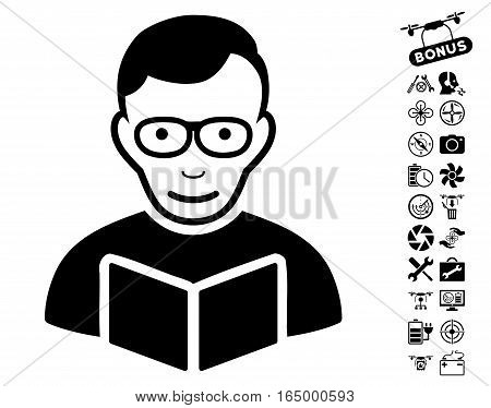 Reader icon with bonus nanocopter tools graphic icons. Vector illustration style is flat iconic black symbols on white background.