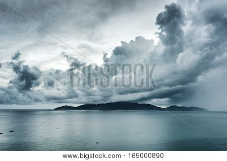 Scenic Seascape With Dramatic Stormy Sky. Nha Trang Bay, Vietnam