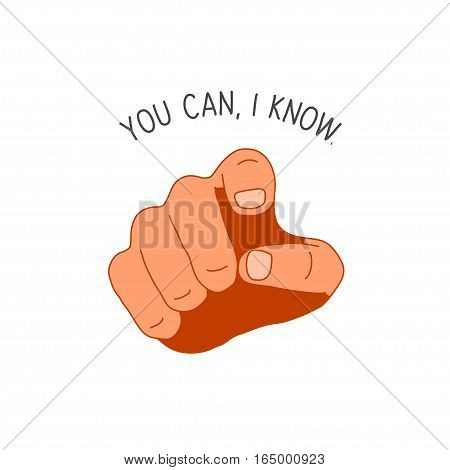 gesture pointing finger with You Can I Know lettering, isolated on wjite background