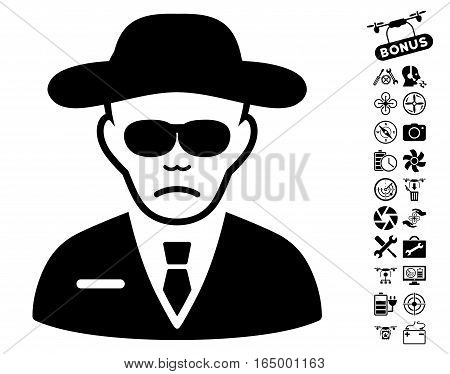 Security Agent icon with bonus quad copter tools pictograph collection. Vector illustration style is flat iconic black symbols on white background.