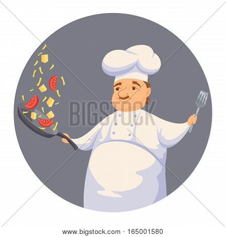 Chef cooking pasta sauce in restaurant or hotel kitchen. Cute cook in uniform holding pan and toss vegetables. Cartoon smile kitchener making healthy wok food. Professional master catering service