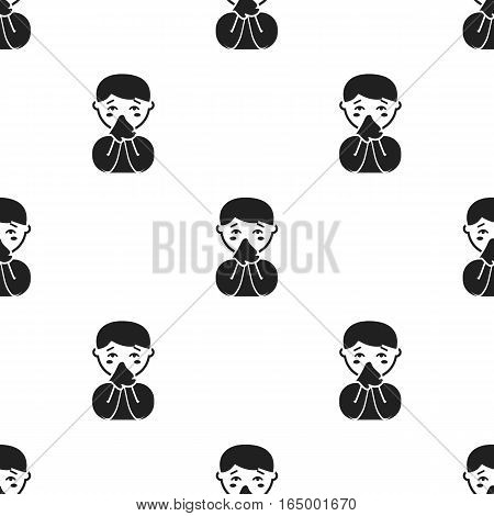 Running nose icon black. Single sick icon from the big ill, disease black. - stock vector