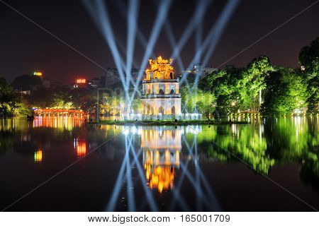 Night View Of The Turtle Tower Among Blue Light Rays, Hanoi