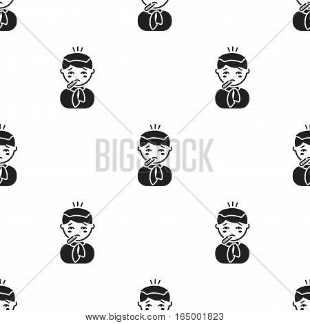 Fever icon black. Single sick icon from the big ill, disease black. - stock vector