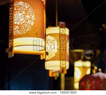 Night View Of Row Of Traditional Chinese Street Lanterns