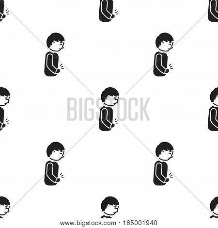 Abdominal pain icon black. Single sick icon from the big ill, disease black. - stock vector
