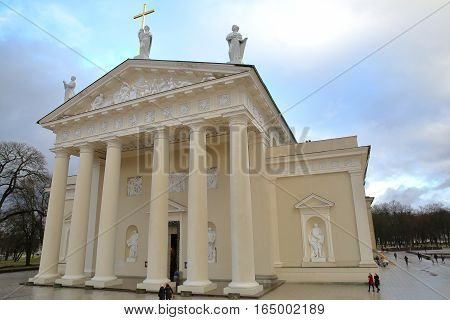 VILNIUS, LITHUANIA - JANUARY 2, 2017: The external facade of the Cathedral on Cathedral Square with details of sculptures on the pediment