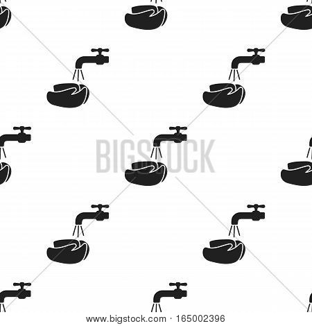 Washing hands icon black. Single sick icon from the big ill, disease black. - stock vector