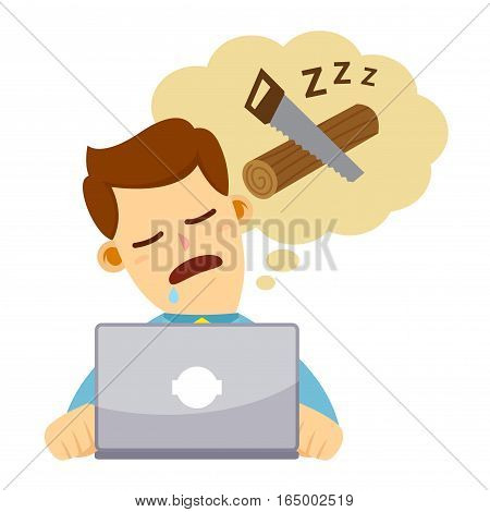 Vector stock of a businessman falling asleep while working behind his laptop