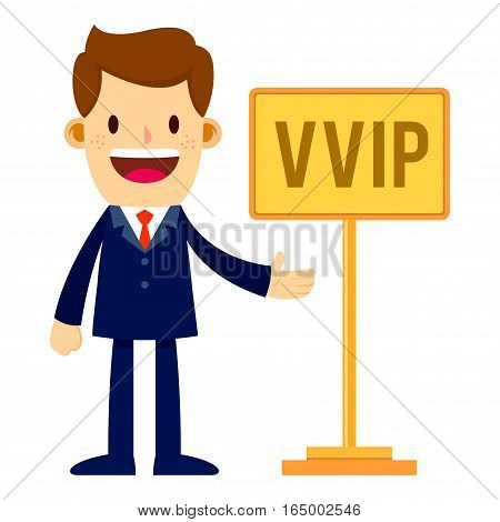 Vector stock of a businessman in suit standing next to VVIP sign
