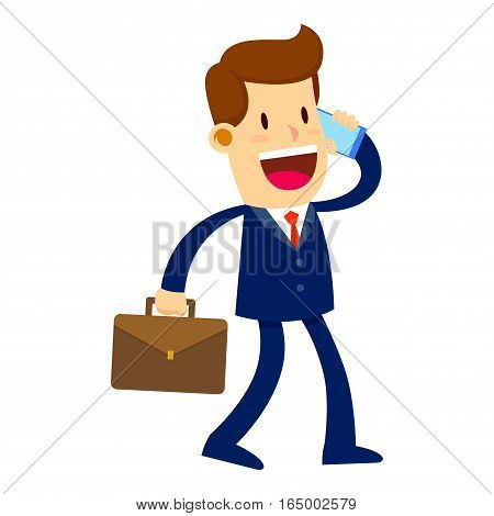 Vector stock of a businessman talking on a mobile phone while holding a briefcase
