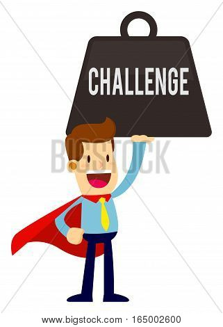 Vector stock of a businessman smiling in super hero cape lifting heavy challenge