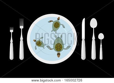 Turtle Soup. Delicatessen Food. Cutlery. Table Etiquette. Forks, Spoons And Knives