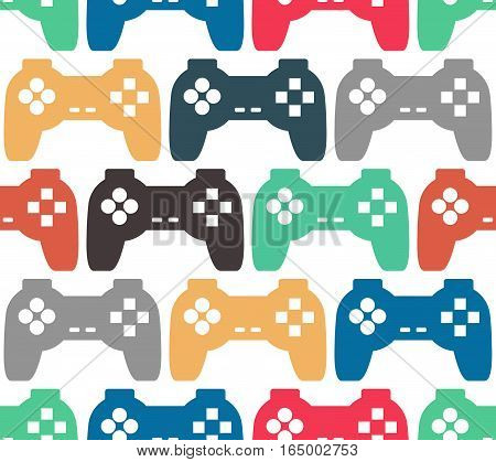 Joystick Seamless Pattern. Retro Gamepad Texture. Vintage Video Game Accessory Background. Console G