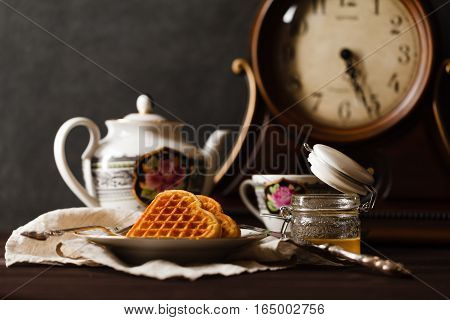 Relax tea cup drink with vienna wafers