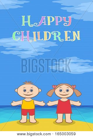 Funny Cartoon Children on Sea Shore, Happy Little Boy and Girl in Colorful Clothes, Standing on Sand Beach Under Blue Sky with Arms Wide Open and Smiling. Vector