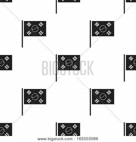 Flag of South Korea icon in  black style isolated on white background. South Korea pattern vector illustration.