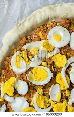 Making Empanada Gallega Pie