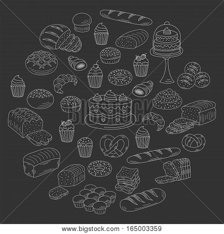 Bakery and pastry collection with various sorts of bread, croissant, pretzel, french baguette, rolls, bagels, cupcake, cakes, muffins. Hand drawn doodle style vector illustrations isolated on black.