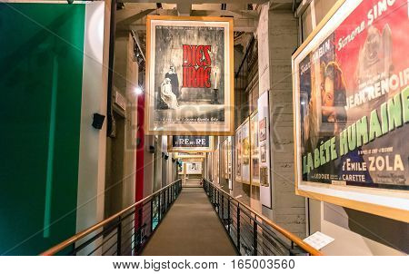 Turin Italy - January 01 2016: interior view with posters of famous movies in National Museum of Cinema in Turin Italy. The Museum is one of the most important of its kind in the world.