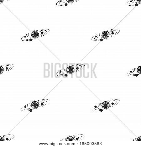 Solar system icon in  black style isolated on white background. Space pattern vector illustration.